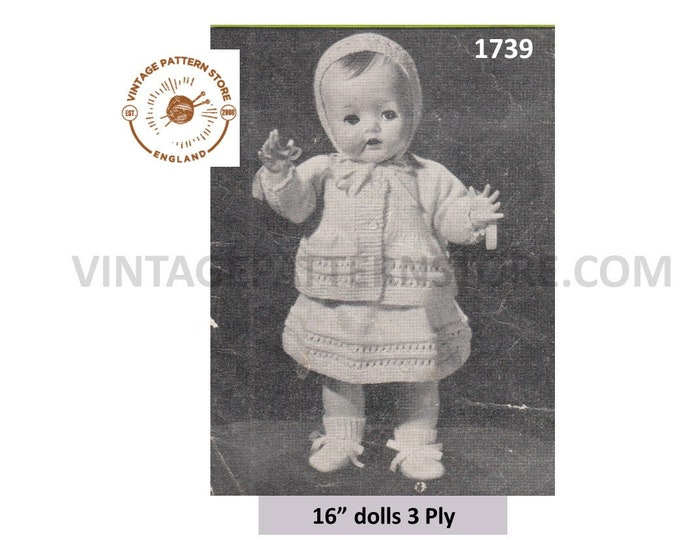 "50s vintage 16"" 3 ply baby doll clothes dress jacket bonnet booties vest and knickers pdf knitting pattern Instant PDF Download 1739"