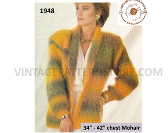 """Ladies Womens easy to knit 90s shawl collar V neck drop shoulder mohair dolman jacket pdf knitting pattern 34"""" to 42"""" chest download 1948"""