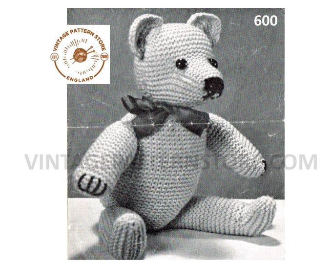 "40s vintage retro fun quick and easy to knit DK cuddly toy teddy bear pdf knitting pattern 17"" tall Instant PDF download 600"