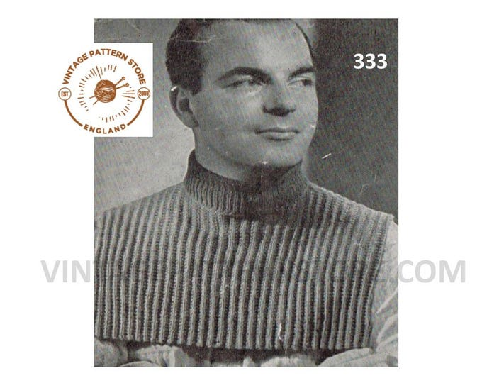 Mens Mans 50s vintage fun quick and easy to knit DK rib ribbed polo neck turtleneck dickie insert pdf knitting pattern Instant download 333