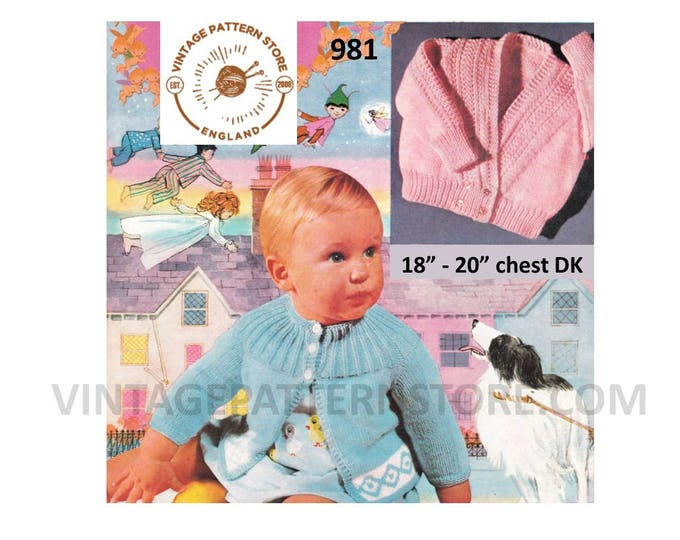 "Baby Babies DK round neck cable yoke intarsia raglan matinee coat & crossover cabled cardigan pdf knitting pattern 18"" to 20"" Download 981"