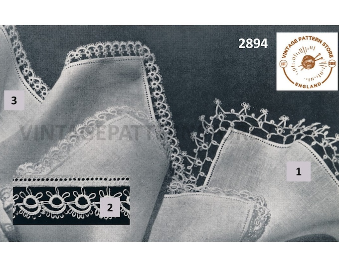 50s vintage tatted lace lacy handkerchief lace edging pdf tatting pattern 3 designs to tat makes to desired length Instant PDF Download 2894