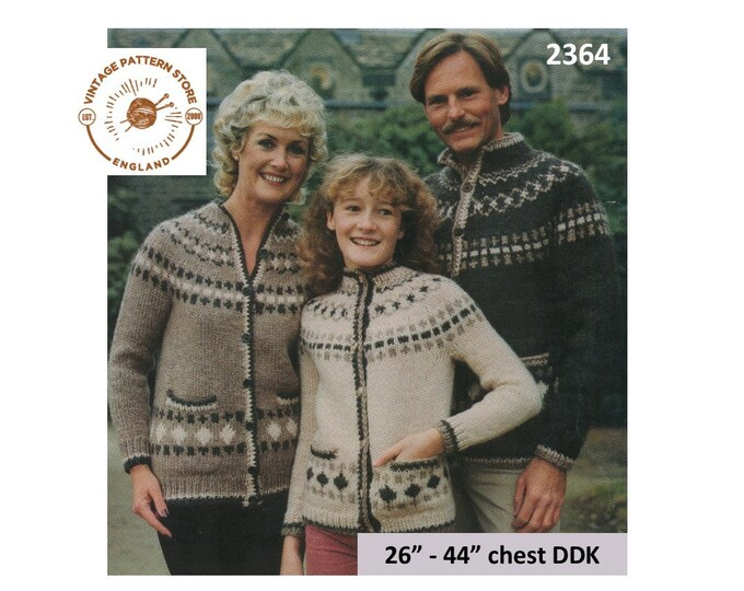 "Ladies Womens Mens Boys Girls 80s family crew neck fair isle DDK chunky knit raglan cardigan pdf knitting pattern 26"" to 44"" download 2364"