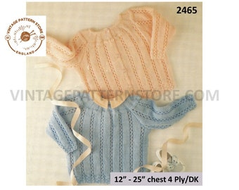 """Premature Preemie Baby Babies 4 ply or DK cabled cable ribbed cardigan sweater jumper pdf knitting pattern 12"""" to 25"""" chest Download 2465"""