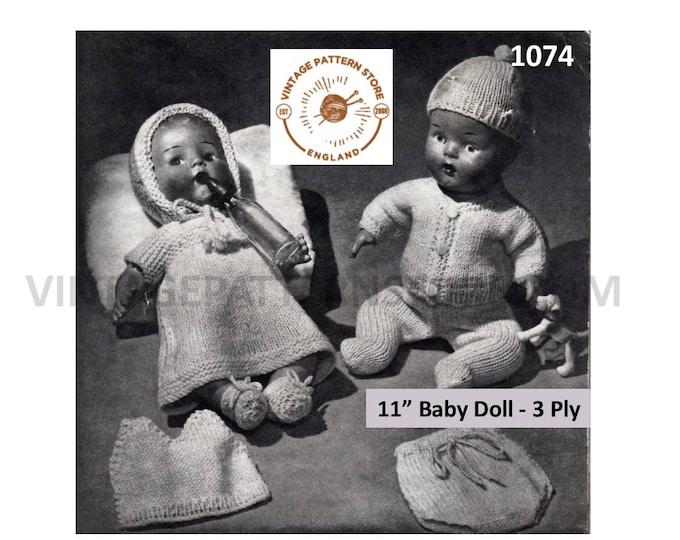 "50s vintage 11"" Baby doll clothes dress bonnet vest panties bootees cardigan leggings cap knitting pattern Instant PDF Download 1074"