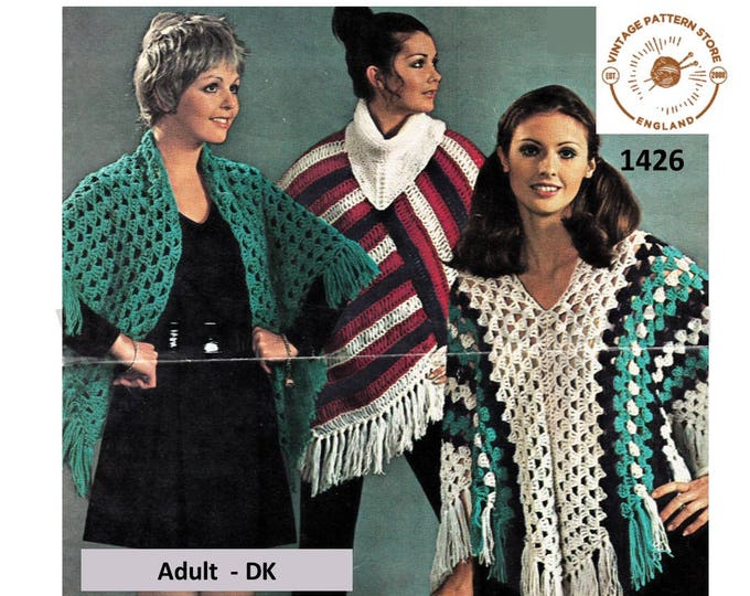 Ladies Womens 70s vintage DK V or cowl neck poncho and cape shawl pdf crochet & knitting pattern Instant PDF Download 1426