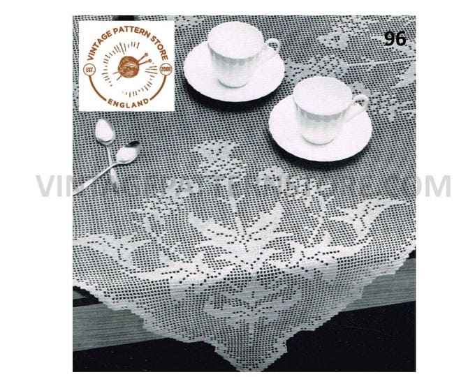 """Traditional Scottish thistle lace lacy square table cloth pdf crochet pattern 36"""" x 36"""" Instant PDF download 96"""