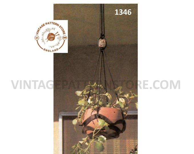 70s vintage beginners easy to make leather plant hanger pdf leather work pattern, 70s vintage retro indoor garden gardening Download 1346