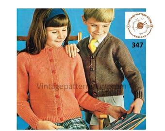 """Girls Boys plain quick and simple easy to knit V or crew neck DK raglan cardigan pdf knitting pattern 22"""" to 28"""" chest Instant download 347"""