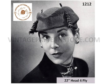 "Ladies 1950s, flexible to shape everyday hat with trim - 22"" Head Size - Vintage PDF Knitting Pattern 1212"