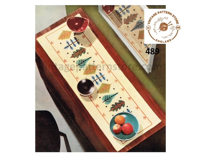 "70s vintage rectangular table runner with embroidered autumn leaves pdf embroidery pattern 41.5"" by 13.75"" Instant PDF Download 489"