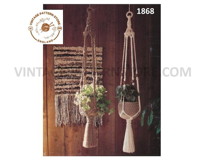 PDF macrame pattern, Macrame plant hanger pattern, Macrame plant holder pattern, Indoor gardening, 70s macrame pattern - PDF download 1868