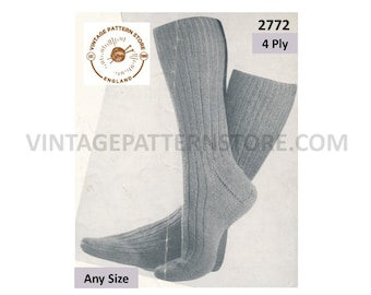 Mens Mans 30s vintage retro 4 ply ribbed rib socks pdf knitting pattern Makes to any size Instant PDF download 2772