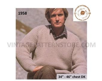 "Mens Mans 90s vintage easy to knit DK V neck raglan sweater jumper pdf knitting pattern 34"" to 46"" chest Instant PDF Download 1958"