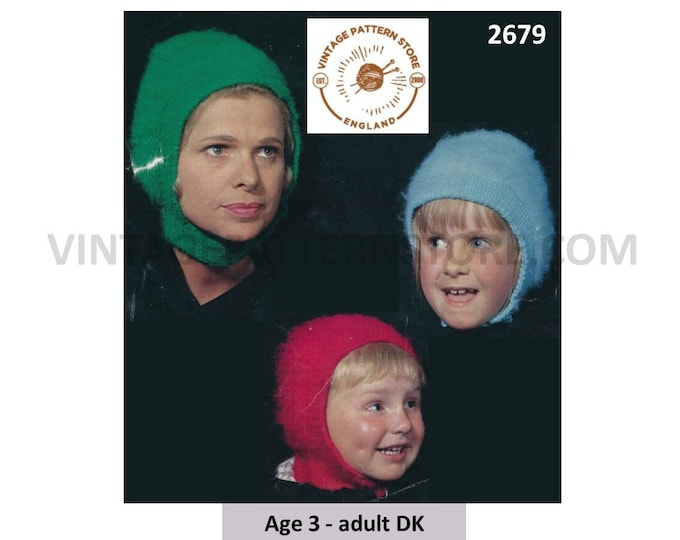 Womens Ladies Boys Girls 60s vintage easy to knit DK balaclava & bonnet pdf knitting pattern 3 yrs to Adult Instant PDF download 2679