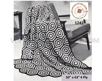 "70s vintage easy to crochet 4 ply hexagonal motif afghan throw pdf crochet pattern 50"" x 63"" Instant PDF download 1242"