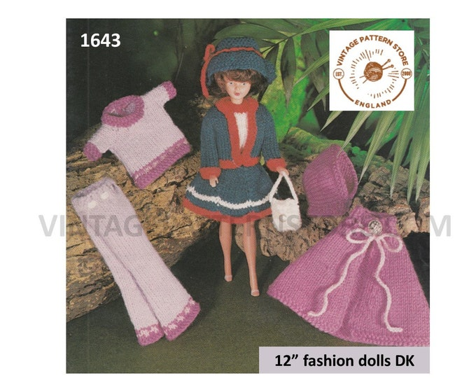 "80s vintage 12"" fashion Dolls Barbie Sindy clothes DK trousers cape hood jacket sweater and top pdf knitting pattern PDF Download 1643"