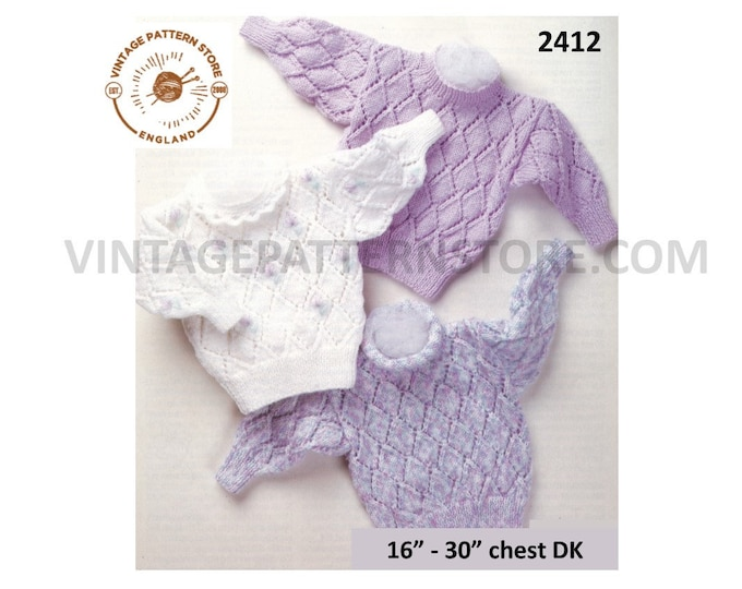"""Girls Baby Babies 90s round neck eyelet lace DK lacy sweater jumper pullover pdf knitting pattern 16"""" to 30"""" chest Instant PDF download 2412"""