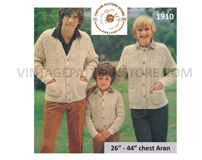 """Ladies Womens Mens Boys Girls 80s cable cabled raglan aran family cardigan jacket pdf knitting pattern 26"""" to 44"""" chest PDF download 1910"""