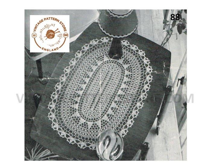 "70s vintage large oval crochet doily doilies table mat pdf crochet pattern 19"" by 28"" Instant PDF download 88"