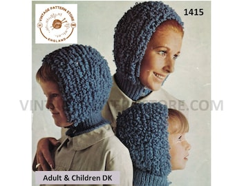 70s loopy bonnet knitting pattern 2291f52ff5e