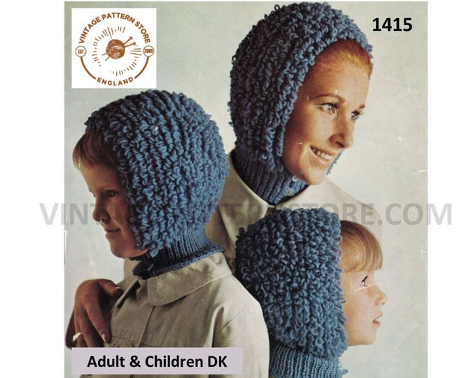 Ladies Womens Girls 70s vintage easy to knit loop stitch loopy DK balaclava bonnet pdf knitting pattern 3 years to adult PDF download 1415