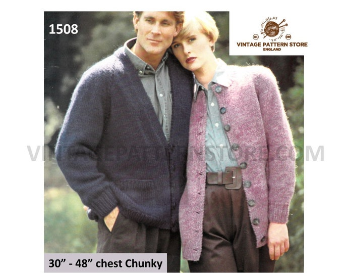 """Ladies Womens Mens Mans easy to knit V and round neck chunky knit raglan cardigan pdf knitting pattern 30"""" to 48"""" chest PDF download 1508"""