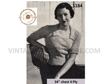 "Ladies 1930s, square neck with collar, short sleeve, raglan sweater jumper - 34"" chest - Vintage PDF Knitting Pattern 1184"