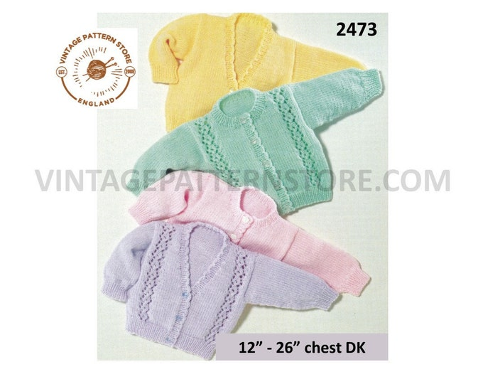 """Premature Preemie baby babies V or round neck lace panel or plain easy to knit DK cardigan pdf knitting pattern 12"""" to 26"""" PDF Download 2473"""
