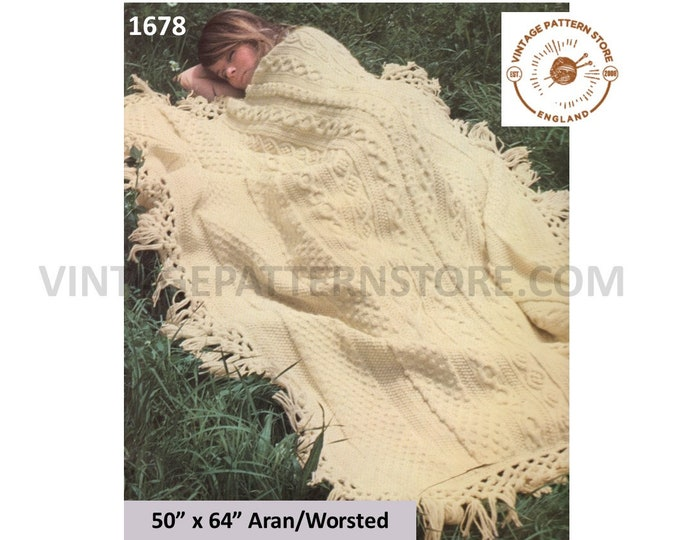 "70s vintage fringed cabled cable panel aran afghan throw pdf knitting pattern 50"" by 64"" Instant PDF download 1678"