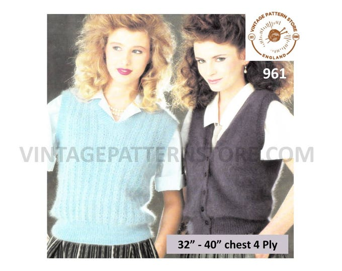 """Ladies Womens 80s vintage easy to knit 4 ply V neck cable rib waistcoat & slipover sweater vest pdf knitting pattern 32"""" to 40"""" Download 961"""