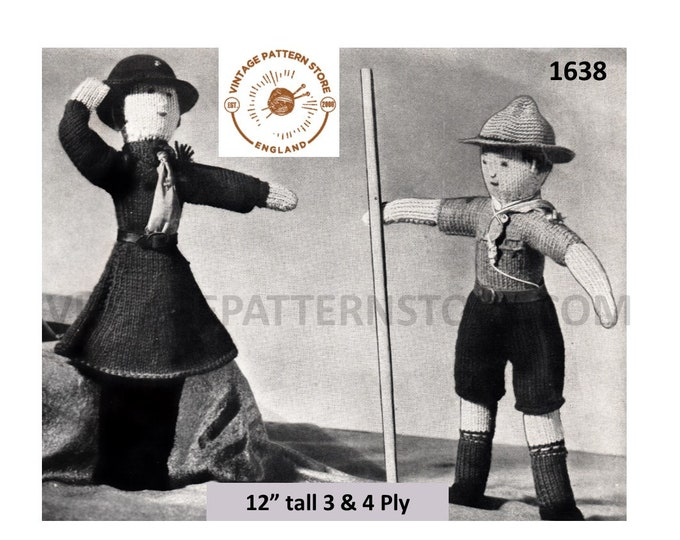"""40s vintage 3 ply or 4 ply toy doll Girl Guide and Cub Scout pdf knitting pattern 12"""" high Instant PDF Download 1638"""