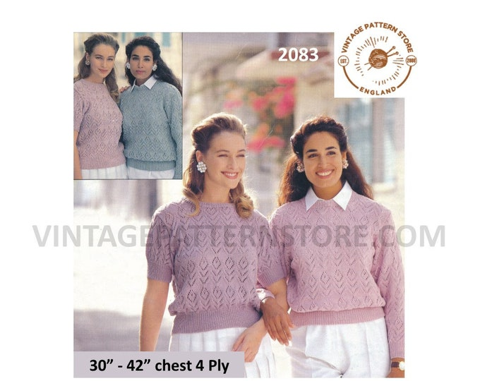 """Ladies Womens 90s 4 ply round neck long or short sleeve lacy raglan sweater jumper pdf knitting pattern 32"""" to 42"""" chest PDF Download 2083"""