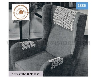 """30s vintage tatted lace lacy settee sofa chair back and arm rest cover protector pdf tatting pattern 19.5"""" by 16"""" & 9"""" by 7"""" Download 2886"""