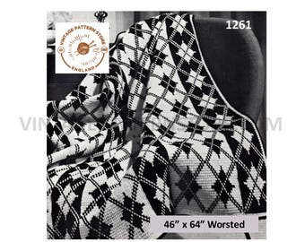 "1970s, diamond check, fair isle, masculine batchelor pad afghan throw - 46"" x 64"" - Vintage PDF Knitting Pattern 1261"