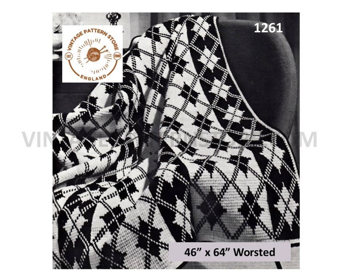 "70s vintage Scottish fair isle argyll check diamond 4 ply afghan throw pdf crochet pattern 46"" x 64"" Instant PDF download 1261"