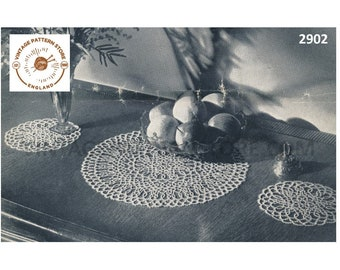 50s vintage tatted lace cheval dressing table set doily doilies pdf tatting pattern Instant PDF Download 2902