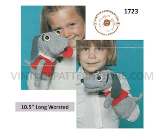 """70s vintage worsted toy puppy dog glove puppet pdf knitting and crochet pattern 10.5"""" long Instant PDF download 1723"""