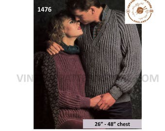 """Womens Mens 90s fun quick & easy to knit DK V or crew neck neck fishermans rib dolman sweater pdf knitting pattern 26"""" to 48"""" Download 1476"""