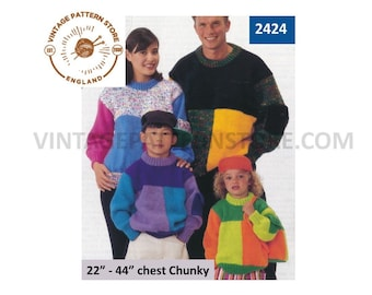 """Ladies Womens Mens Boys Girls Family easy to knit geometric colour block chunky knit sweater pdf knitting pattern 22"""" to 44"""" download 2424"""
