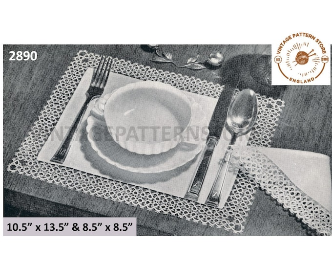 50s vintage rectangular linen tatted lace lacy edge place mats pdf tatting pattern Instant Download 2890