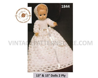 """Dolls clothes, Christening gown with bonnet to fit 13"""" & 15"""" dolls in 2 ply - Vintage PDF Knitting Pattern 1844"""