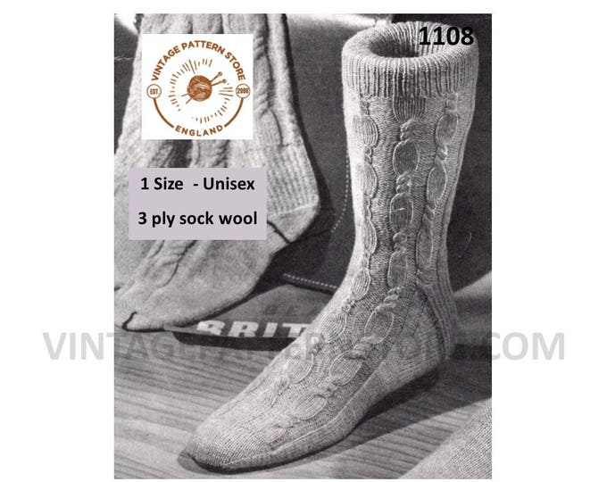Ladies Womens Mens Mans 50s vintage 3 ply cable cabled socks pdf knitting pattern Instant PDF download 1108