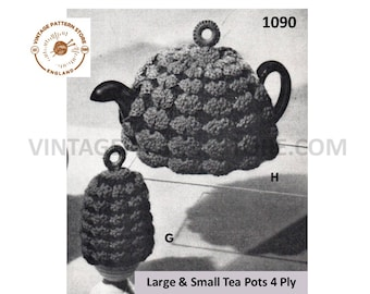 50s vintage 4 ply shell patterned ring topped tea and egg cosy breakfast set pdf crochet pattern Small & Large Tea Pots PDF download 1090