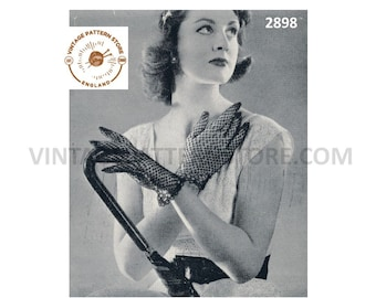 """Ladies Womens 50s vintage tatted lace picot edge lacy gloves pdf tatting pattern 6"""" to 6.5"""" palm size Instant PDF Download 2898"""
