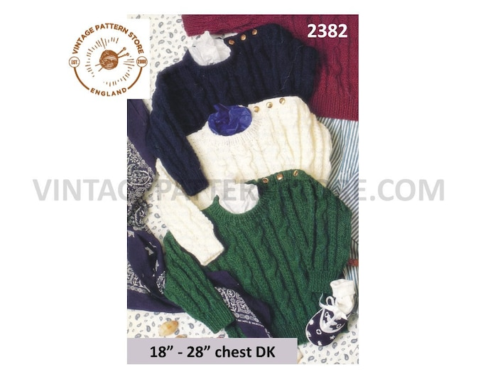 """Toddlers Boys 90s DK round neck twist cable cabled button shoulder raglan sweater jumper pdf knitting pattern 18"""" to 28"""" chest Download 2382"""