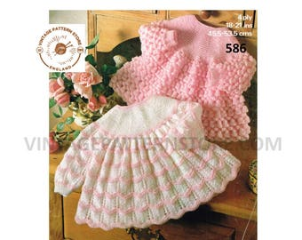 """Baby Babies 4 ply contrast yoke lacy lace cable cabled raglan matinee dress angel top pdf knitting pattern 18"""" to 21"""" chest PDF Download 586"""