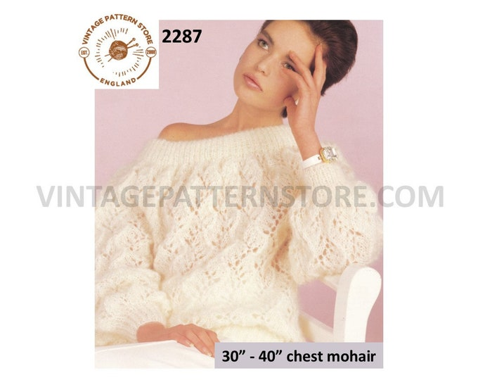 """Ladies Womens 90s cabled cable & eyelet lace off shoulder lacy dolman mohair sweater jumper pdf knitting pattern 30"""" to 40"""" Download 2287"""