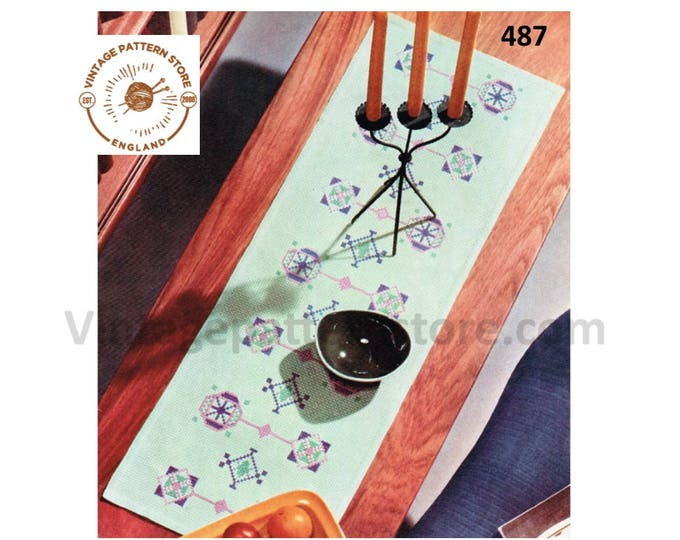 "70s vintage embroidered rectangular table runner pdf embroidery pattern 40"" by 14"" Instant PDF download 487"