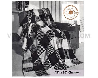 "1970s, simple and easy to knit, gingham check afghan throw - 48"" x 60"" - Vintage PDF Knitting Pattern 1240"